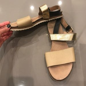 Camel and Gold Two Strap Sandal